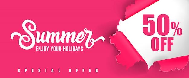 Verano disfruta de tus vacaciones cincuenta por ciento de descuento en las letras. vector gratuito