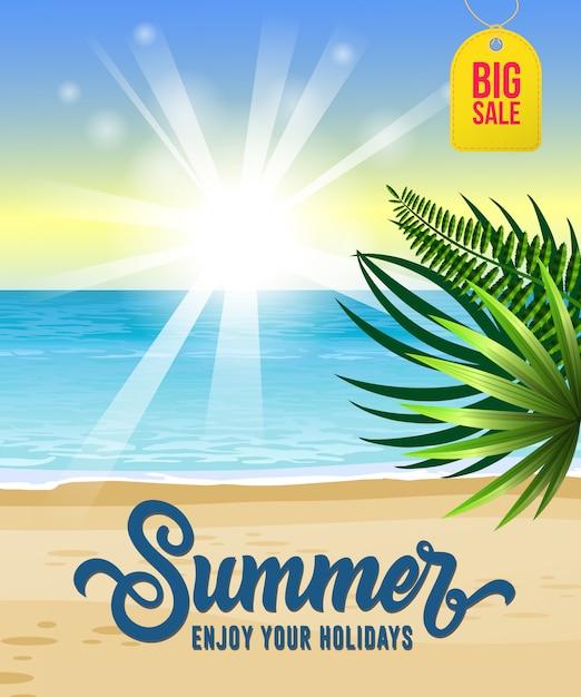 Verano, disfrute de sus vacaciones, gran folleto de venta con mar, playa tropical, salida del sol vector gratuito