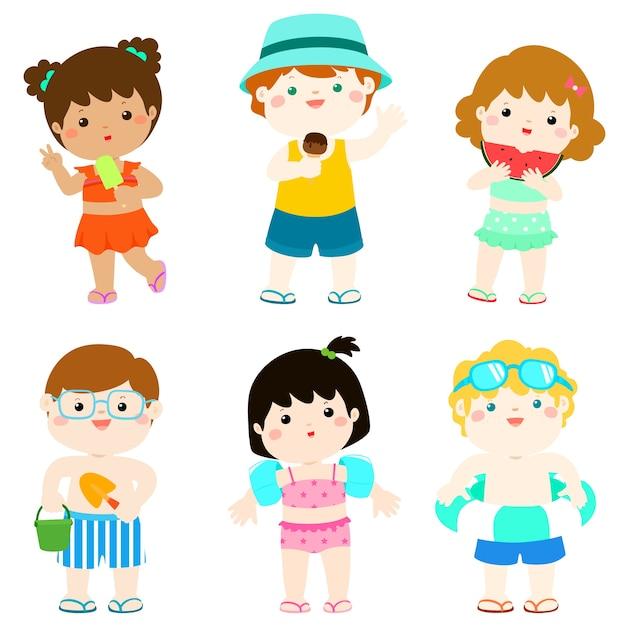 c3dafc28c Verano niños lindos multiculturales en personaje de traje de baño ...