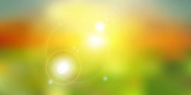 Verano o luz solar sobre fondo verde de la naturaleza Vector Premium