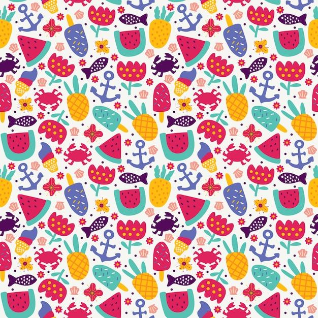 Verano de patrones sin fisuras con piña fruta helado cangrejo ancla pescado sandía y flor estilo doodle Vector Premium