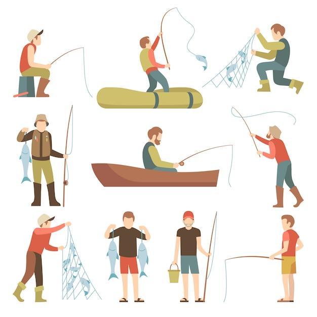 Verano pesca deporte vacaciones vector iconos planos. pescadores con conjunto de peces. Vector Premium