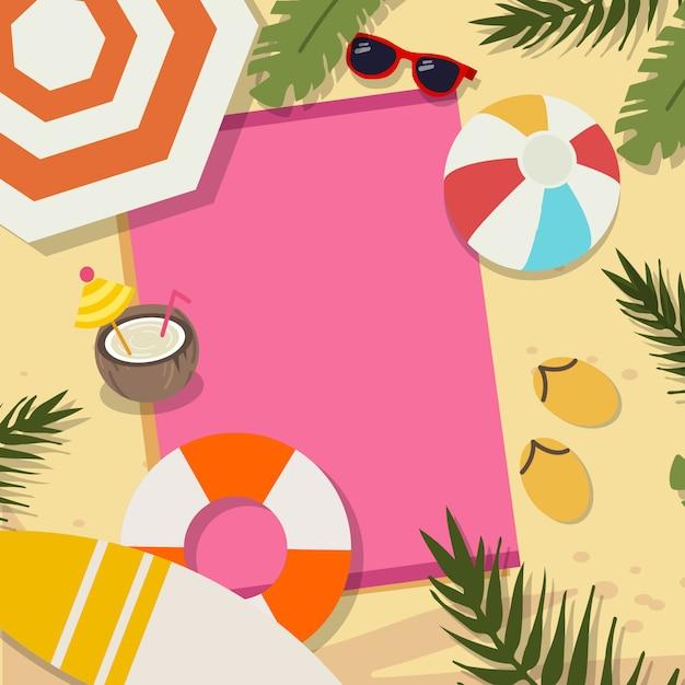 Verano en la playa encima de conjunto vista Vector Premium