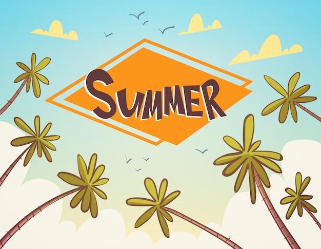 Verano tropical vacaciones palm treen sobre azul cielo junto a la playa banner de vacaciones Vector Premium