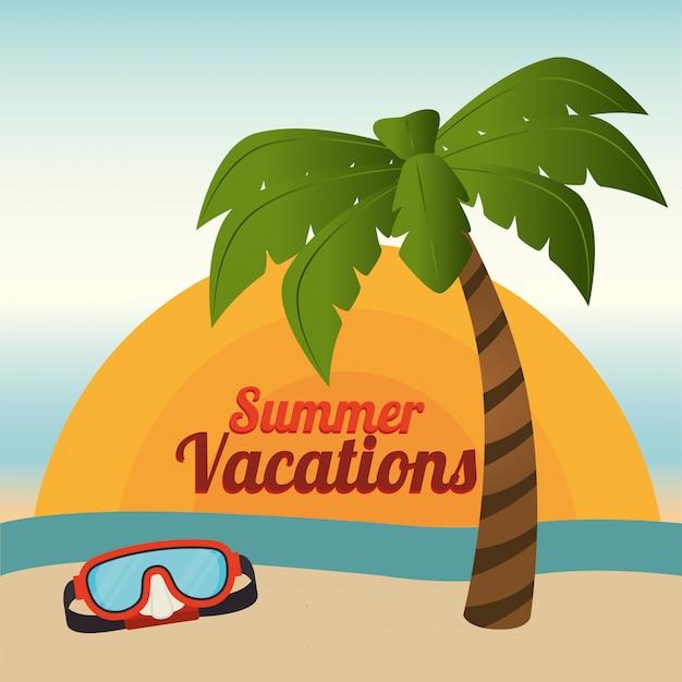 Verano y vacaciones, palmeras y gafas de buceo en la playa. vector gratuito