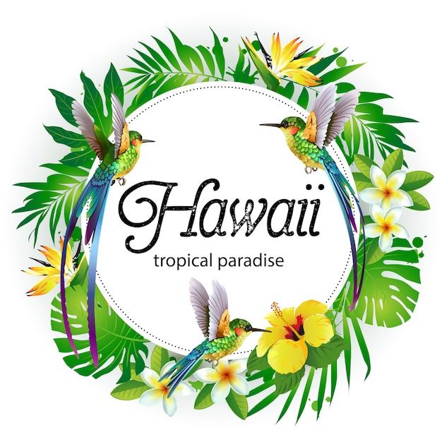 Verano verde tropical con hojas de palmera exóticas y flores de ...