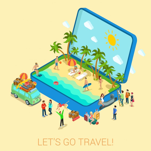 Verano viajes playa vacaciones plana 3d web isométrica infografía turismo concepto vector plantilla. abra la maleta con orilla del mar hippie van surfer chicas jóvenes en bikini. colección de personas creativas. vector gratuito