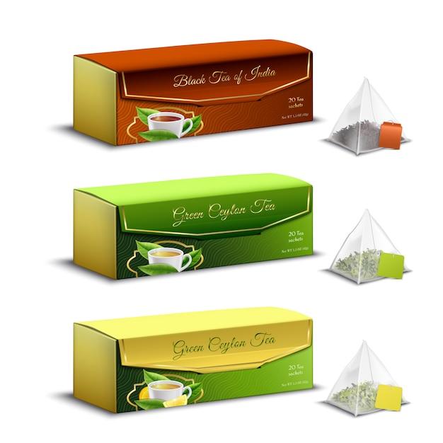 Verde negro indio y ceilán té pirámide bolsas cajas de embalaje conjunto realista venta de publicidad aislada vector gratuito