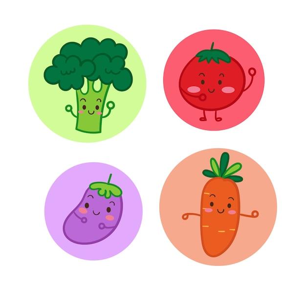 Verduras De Dibujos Animados Verduras Conjunto Ilustración