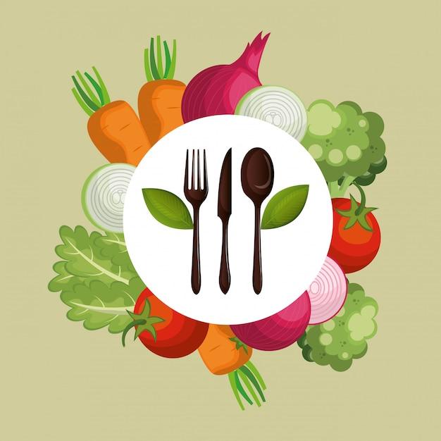 Verduras frescas comida sana vector gratuito