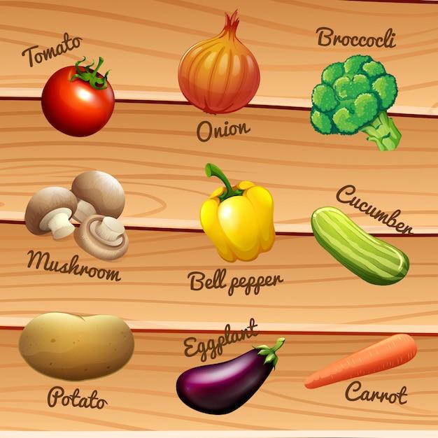 Verduras frescas con nombres vector gratuito