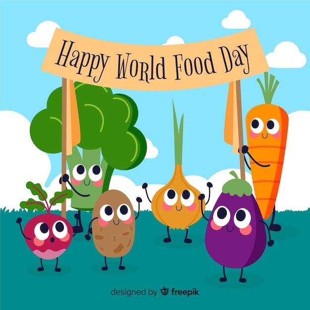 Verduras frescas sosteniendo un cartel con feliz día mundial de la comida vector gratuito