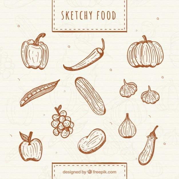Verduras y frutas saludables dibujadas a mano vector gratuito