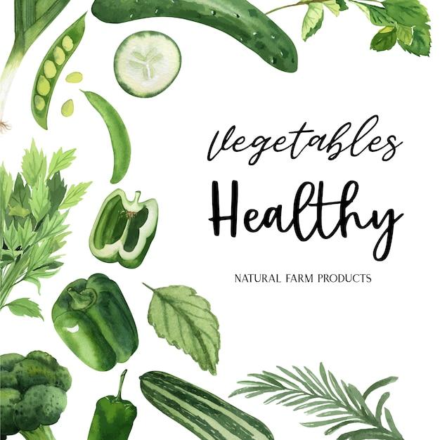 Verduras verdes acuarela marco orgánico, pepino, guisantes, brócoli, apio vector gratuito
