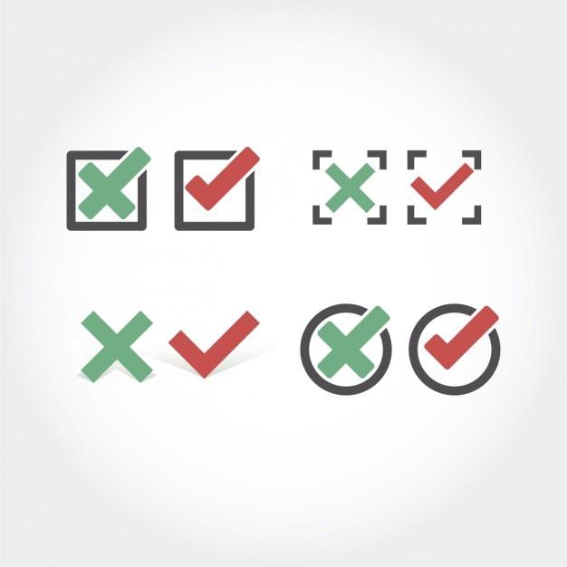 Verificar y cancelar colección de los botones vector gratuito