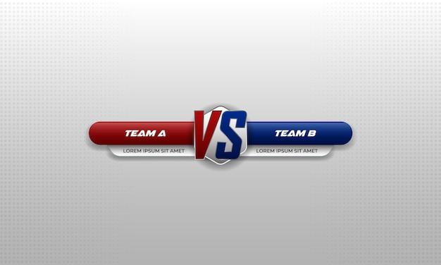 Versus battle. color rojo y azul Vector Premium