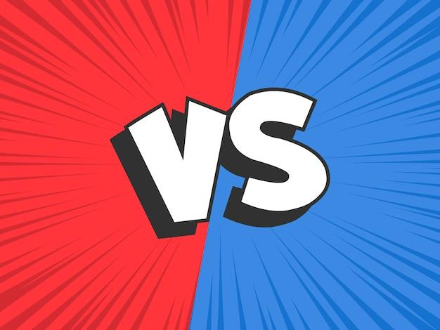 Versus compare. marco de conflicto de batalla rojo vs azul, enfrentamiento enfrentamiento y comedia de lucha Vector Premium