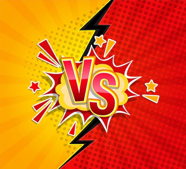 Versus concepto competitivo en estilo cómico. Vector Premium