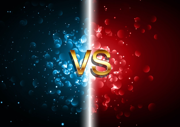 Versus fondo de pantalla de batalla con diseño de luces bokeh rojo y azul vector gratuito