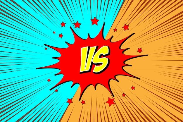 Versus. lucha contra el estilo de los cómics. Vector Premium