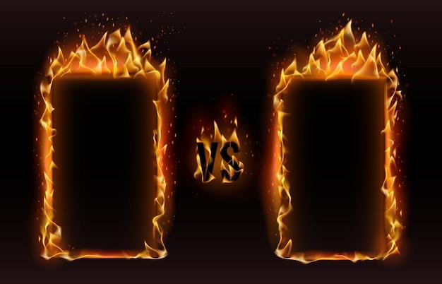 Versus marcos. fire vs frame, pantalla para boxeo versus ilustración de desafío de lucha deportiva Vector Premium