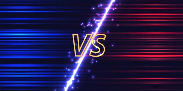 Versus pantalla con efecto de brillo de neón vector gratuito
