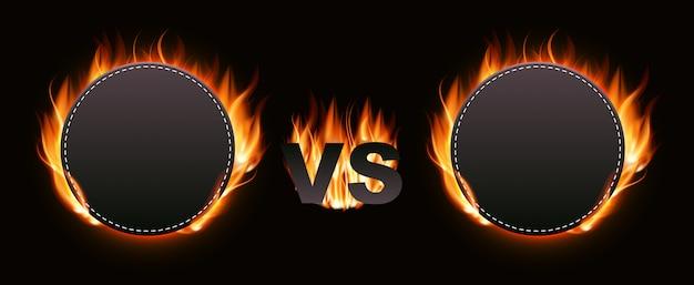 Versus pantalla con fuego Vector Premium