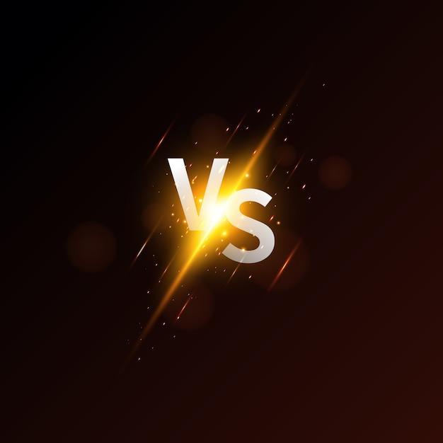 Versus pantalla. moderno versus fondo con estilo de lujo. composición de desafío con efecto neón. Vector Premium