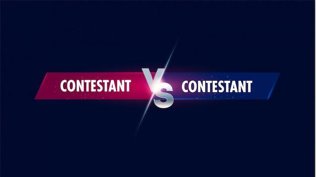 Versus pantalla. vs batalla titular, conflicto duelo entre equipos rojos y azules. la confrontación de la competencia de lucha. Vector Premium