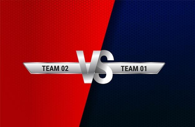 Versus pantalla. vs titular de batalla, duelo de conflicto entre los equipos rojo y azul. enfrentamiento lucha competencia. luchador de boxeo de artes marciales Vector Premium