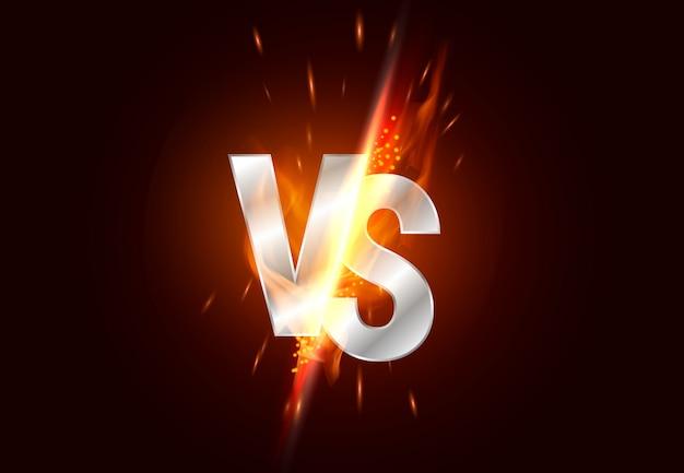 Versus pantalla. vs titular de la batalla, duelo de conflicto entre los equipos rojo y negro. enfrentamiento lucha competencia. Vector Premium