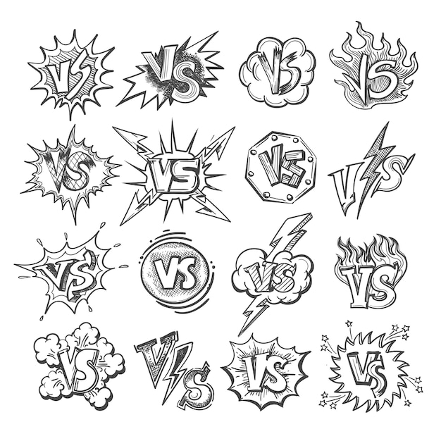 Versus sketch icon set Vector Premium