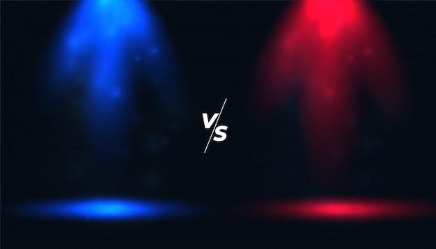 Versus vs fondo con focos azules y rojos vector gratuito