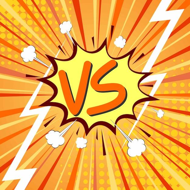 Versus vs letras luchan en un diseño de estilo cómic plano con semitonos, relámpagos. ilustración vectorial Vector Premium