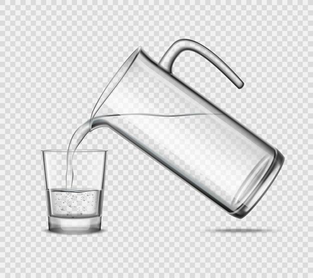Verter el agua en un vaso sobre fondo transparente vector gratuito