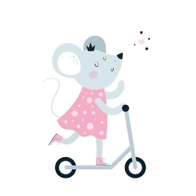 Vespa linda del paseo del ratón de los ratones del bebé Vector Premium