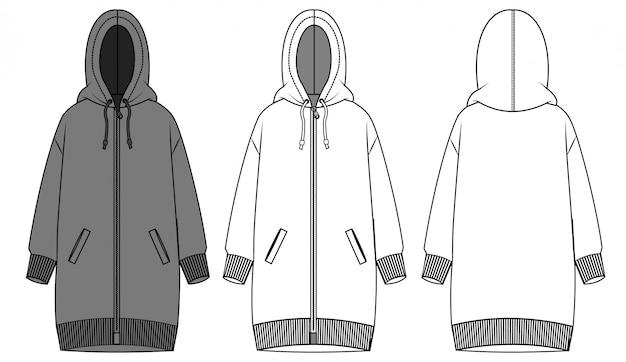 Vestido con capucha plantilla boceto plano de moda Vector Premium