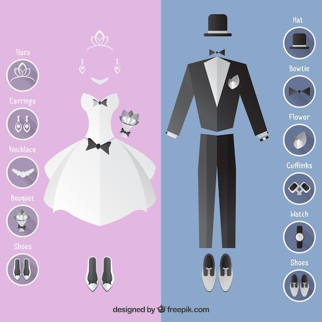 Vestido de novia y el traje con accesorios | Descargar Vectores gratis