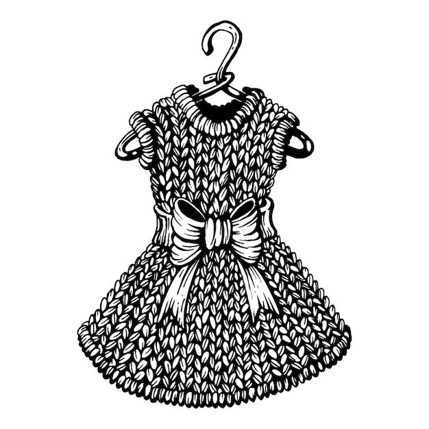 Vestido de punto en la percha. | Descargar Vectores Premium