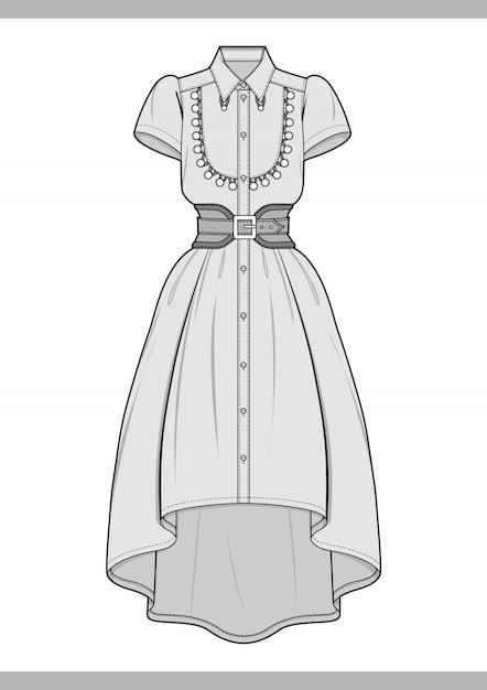 Vestido Moda Dibujos Técnicos Vector Plantilla Vector Premium