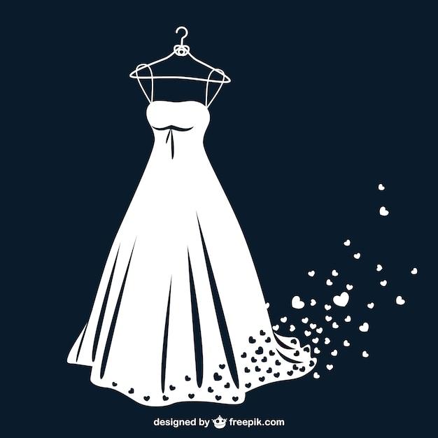 Vestido de novia en blanco y negro con corazones vector gratuito