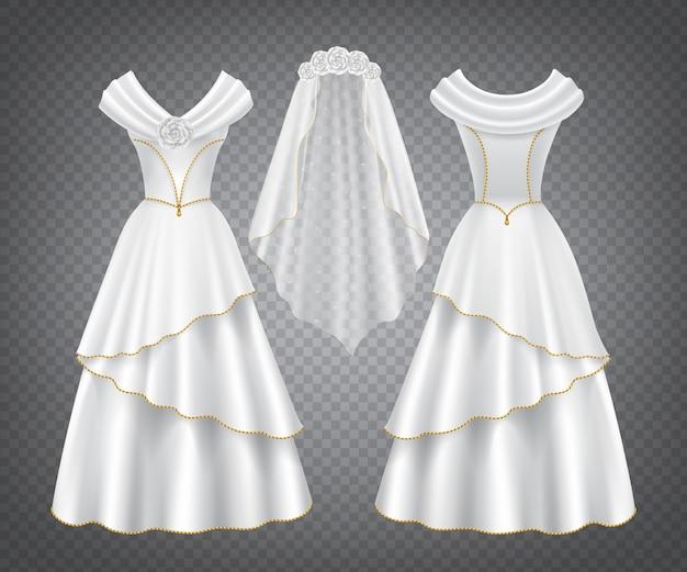 Vestido de novia blanco con velo de tul vector gratuito