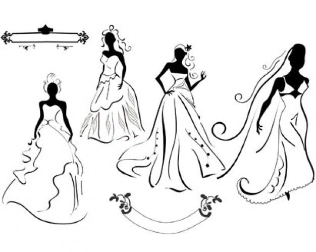 vestidos de novia ilustración vectorial Vector Gratis