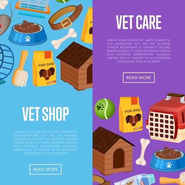 Vet shop banner web en estilo de dibujos animados Vector Premium