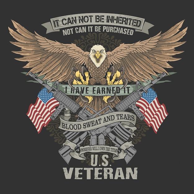Veterano americano águila sangre y lágrimas Vector Premium