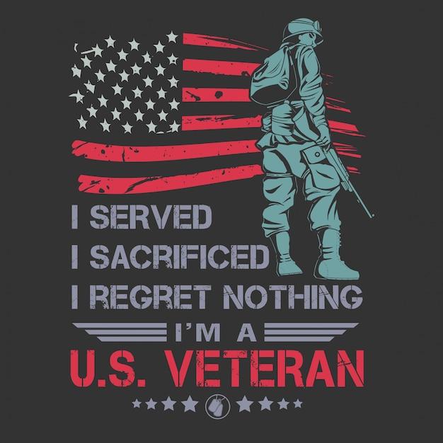 Veteranos diseño día de la independencia cotizaciones vector de tipografía Vector Premium