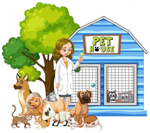 Veterinario y animales enfermos en casa de mascotas vector gratuito