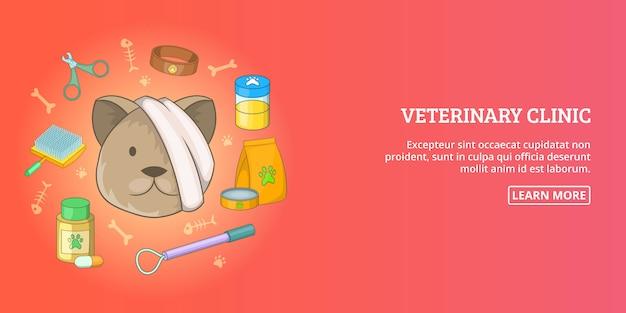 Veterinario clínica banner hombre horizontal, estilo de dibujos animados Vector Premium