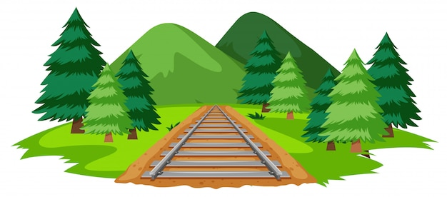 Una vía de tren en plena naturaleza. vector gratuito