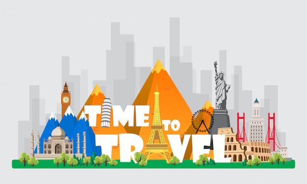 Vector Premium | Viaja al mundo. viaje. gran conjunto de monumentos famosos  del mundo. tiempo de viaje, turismo, vacaciones de verano. diferentes tipos  de viaje.
